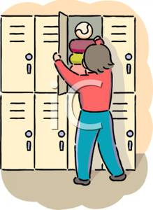 Kid Putting Stuff In A School Locker   Royalty Free Clipart Picture