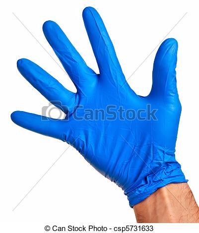 Stock Photos Of Caucasian Male Right Hand In Blue Latex Glove Isolated