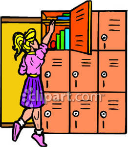 Up To The Top Shelf Of Her Locker Royalty Free Clipart Picture