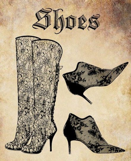 Victorian Lace Shoes Boots Clip Art Png File Word Text Digital Graphi