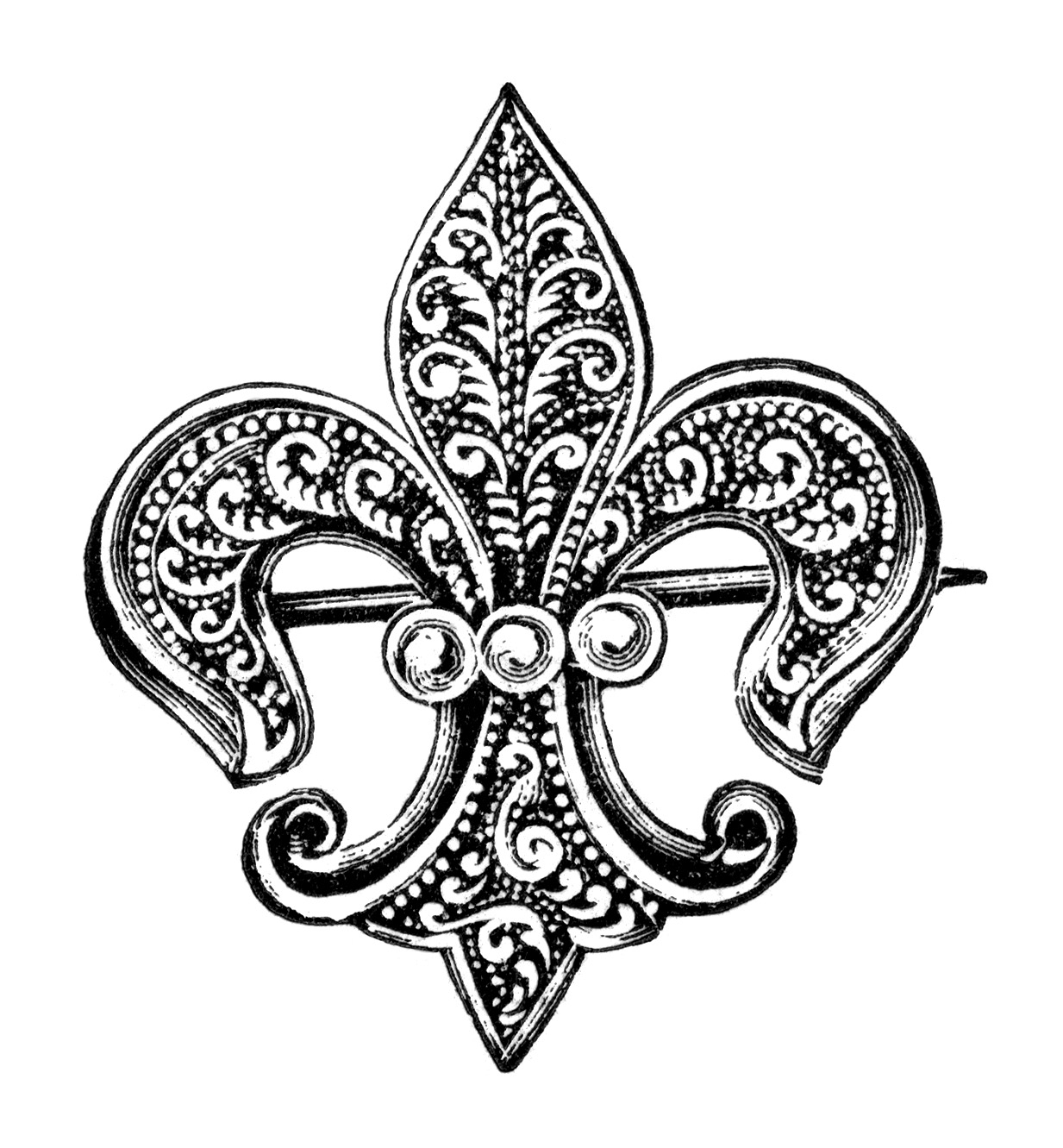 Vintage Brooch Clipart Fleur De Lis Clip Art Antique Brooch With