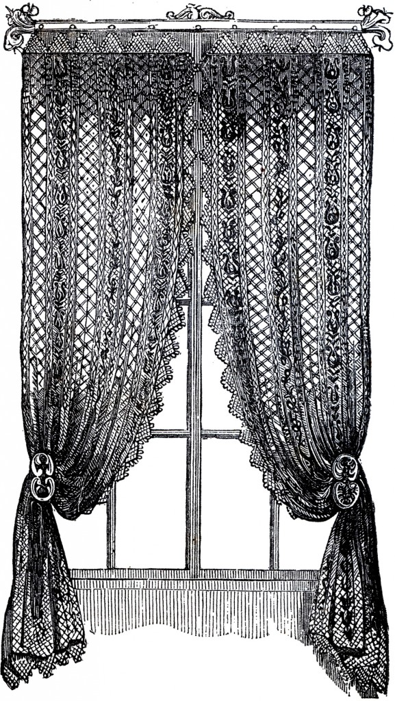 Vintage Lace Curtains Clip Art    The Graphics Fairy