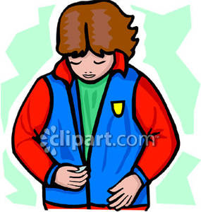 Woman Zipping Up Her Jacket   Royalty Free Clipart Picture