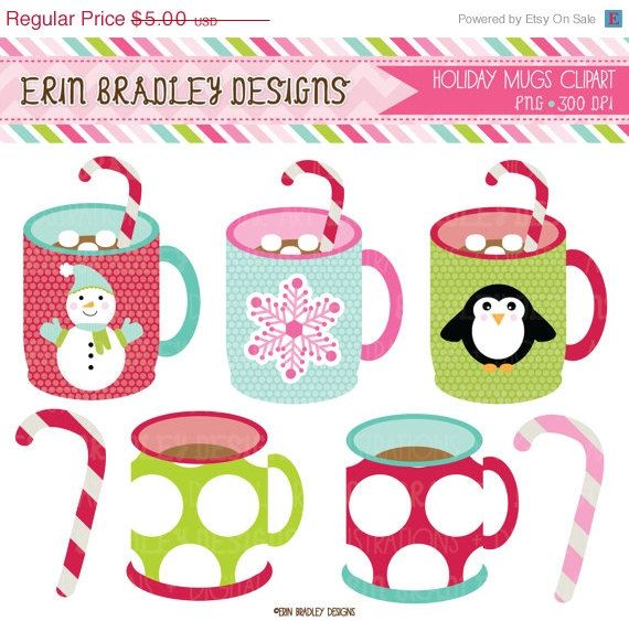 50 Off Sale Holiday Mugs Clipart Clip Art By Erinbradleydesigns  2 50