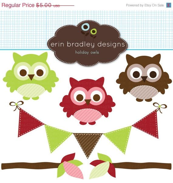 50  Off Sale Holiday Owls Clipart Clip Art Personal   Commercial Use