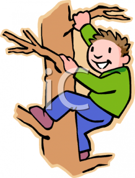 Active Boy Climbing A Tree   Royalty Free Clip Art Illustration