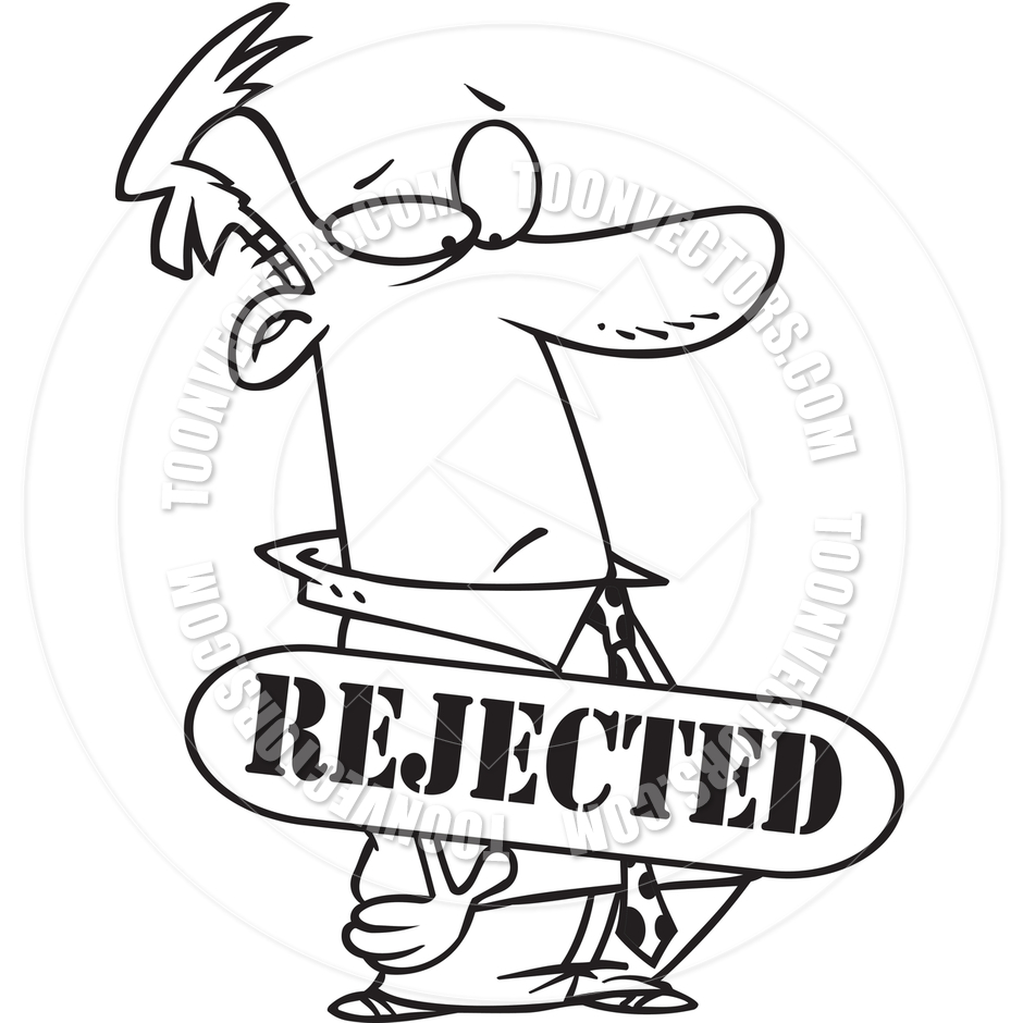 Cartoon Man Rejected  Black And White Line Art  By Ron Leishman   Toon
