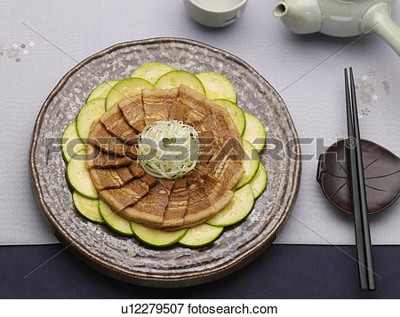 Chopsticks Food Styling Teacup Teapot Sliced Pork With Chili Bean