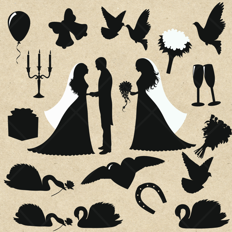 free wedding silhouette clip art - photo #37