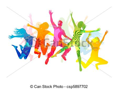 Clip Art Of Jumping Summer People Healthly Young People Vector