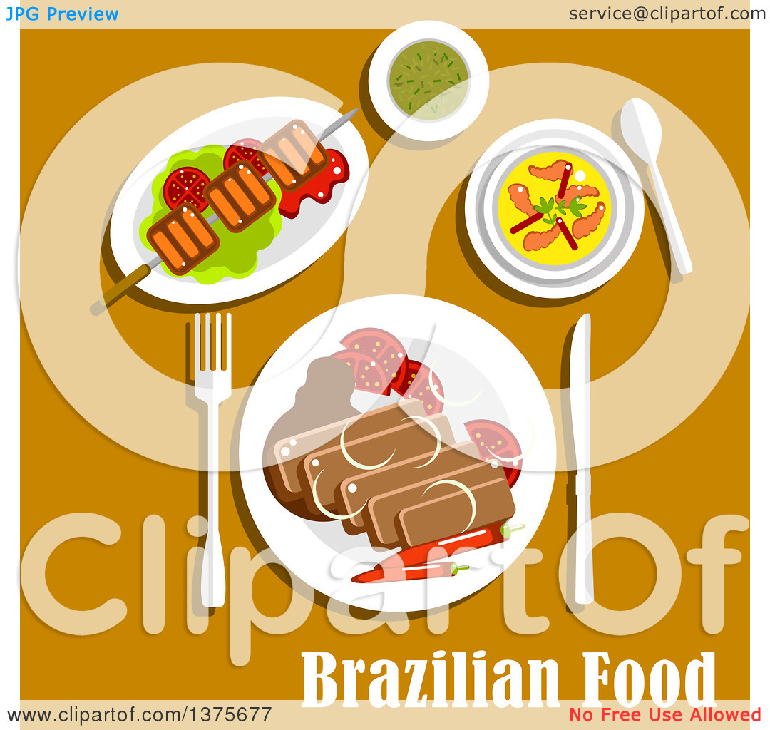 Clipart Of Flat Design Brazilian Cuisine With Feijoada Stew With Pork