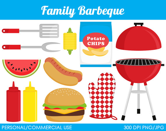 Family Barbeque Clipart   Digital Clip Art Graphics For Personal Or