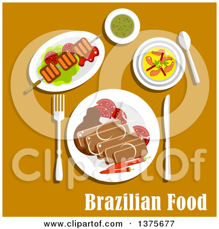 Flat Design Brazilian Cuisine With Feijoada Stew With Pork And Beans