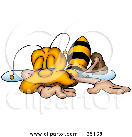 Illustration Of An Exhausted Honeybee Collapsed And Falling Asleep