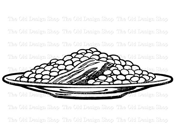 Pork And Beans On Plate Vintage Food Clip Art Digital Graphic