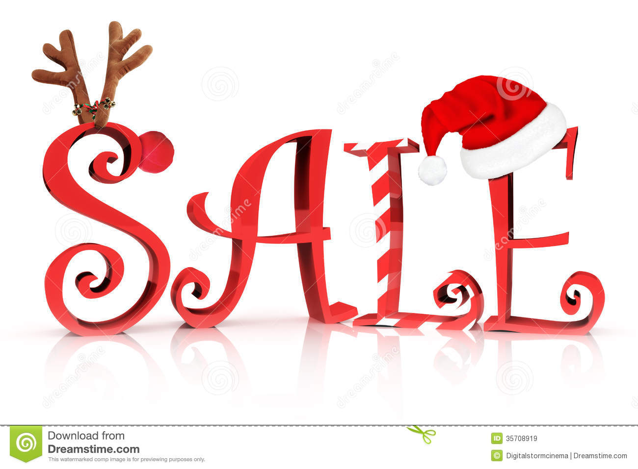 Sale In Text With Reindeer  Candy Cane And Santa Hat Accents On A