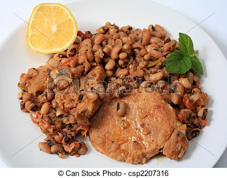 Stock Image Of Pork And Beans Meal Horizontal   A Meal Of Pork Cooked