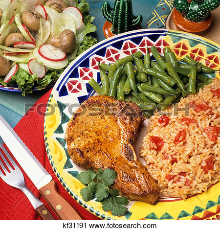 Stock Photography   South Of The Border Pork Chop Mexican Rice Beans