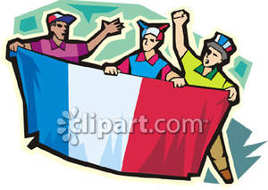 Cheering Men Holding Up The French Flag   Royalty Free Clipart Picture
