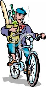 French Man Carrying Groceries Home On His Bicycle   Royalty Free