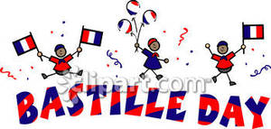 French Men Celebrating Bastille Day   Royalty Free Clipart Picture