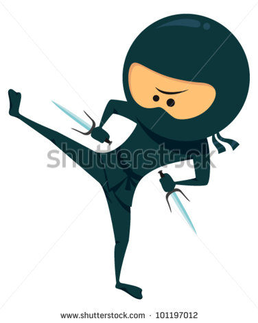 Ninja Kick Clip Art Cute Ninja With Sai Weapon