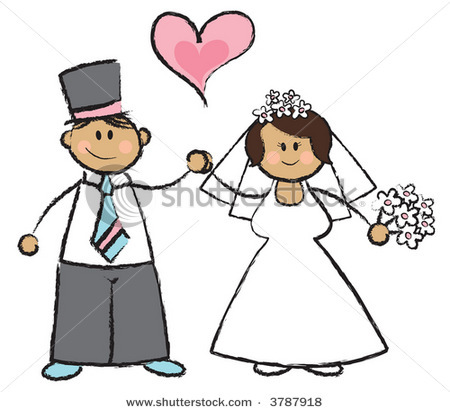 Stock Photo Just Married Raster Cartoon Illustration Of A Wedding