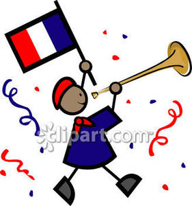 Waving French Flag And Blowing Horn   Royalty Free Clipart Picture
