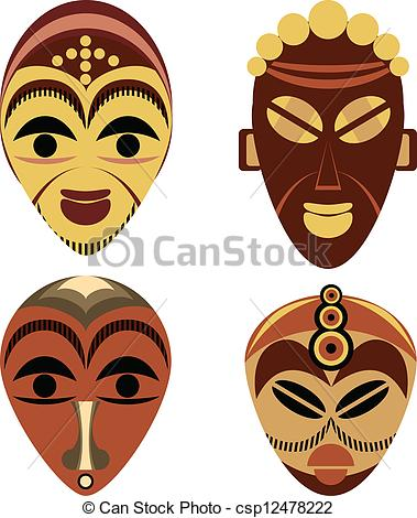 African Mask Clip Art Vector   African Mask Set