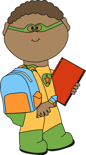 Boy Superhero Going To School Clip Art   Boy Superhero Going To School