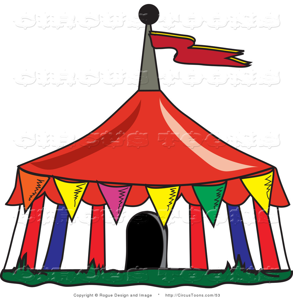 Circus Clipart Of A Colorful Triangular Flags Around A Big Top Circus