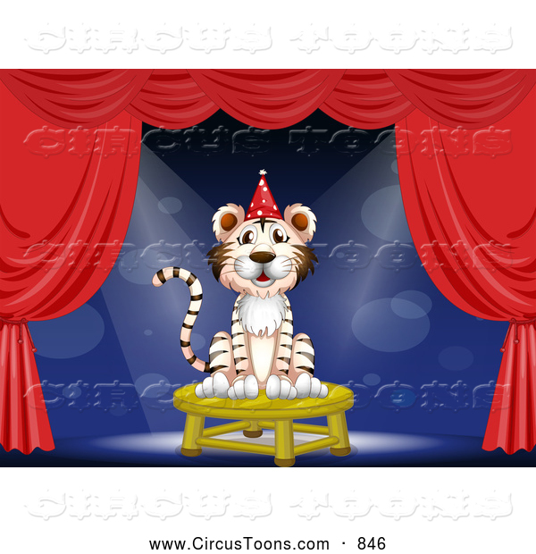 Circus Clipart Of A White Magic Tiger Performing On Stage By Colematt