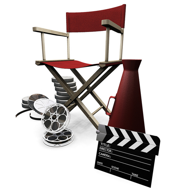 Clipart Illustration Of A Red Director S Chair Cone Film Reels And