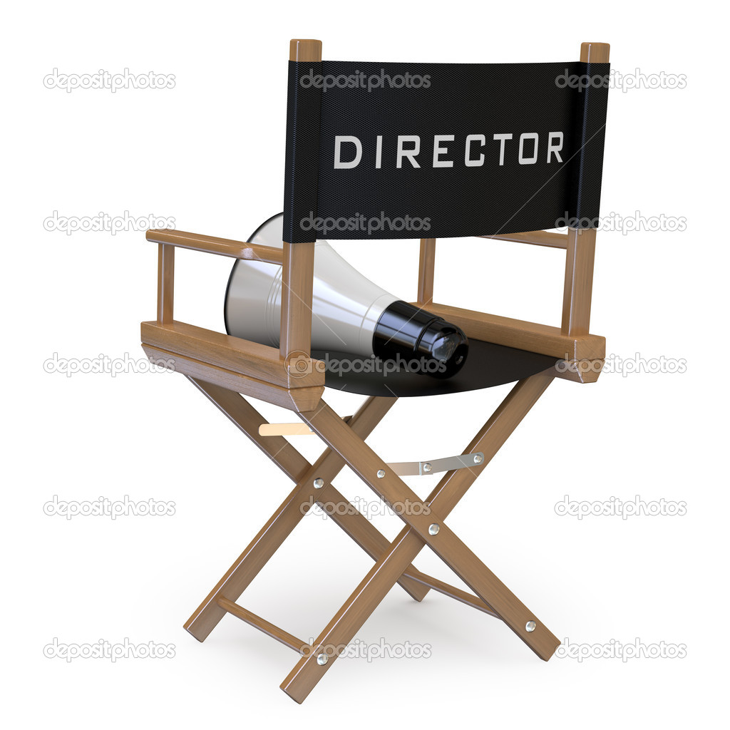 Film Director S Chair With A Megaphone Back View   Stock Photo