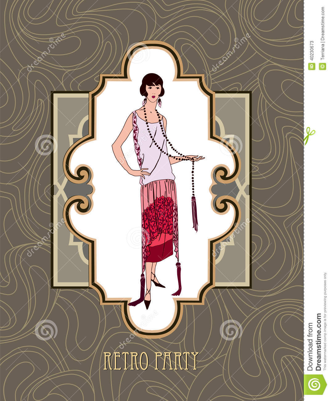 Flapper Girl Over Vintage Background With Copy Space In 1920s Style