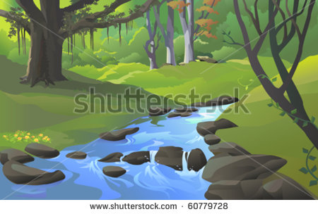 Fresh Water Stream In Forest Stock Vector 60779728   Shutterstock