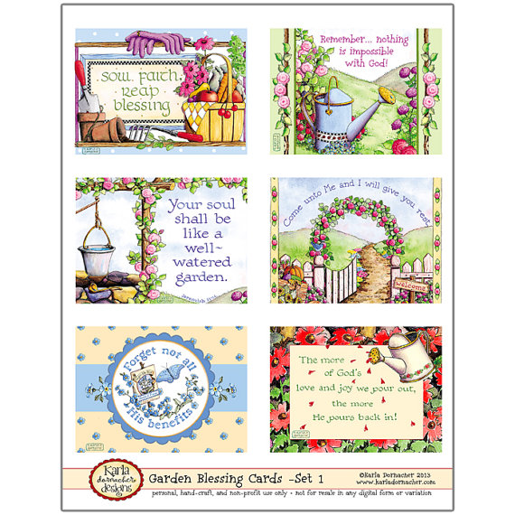 Garden Blessing Cards Set 1 Instant Download Christian Printable Gift
