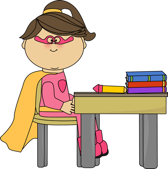 Girl Superhero At School Desk Clip Art   Girl Superhero At School Desk