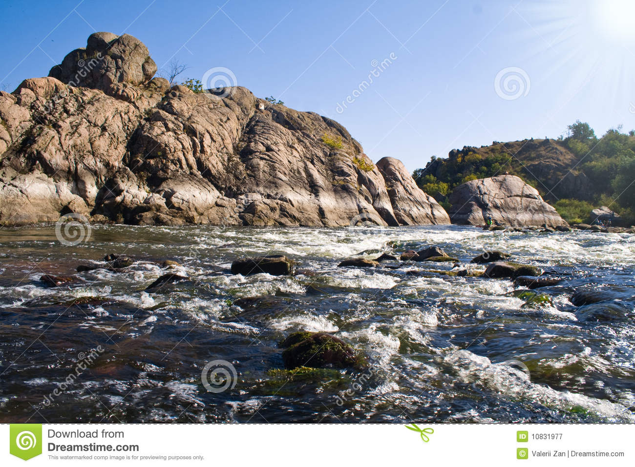 Granit Rock And Stream Of The River Royalty Free Stock Photography