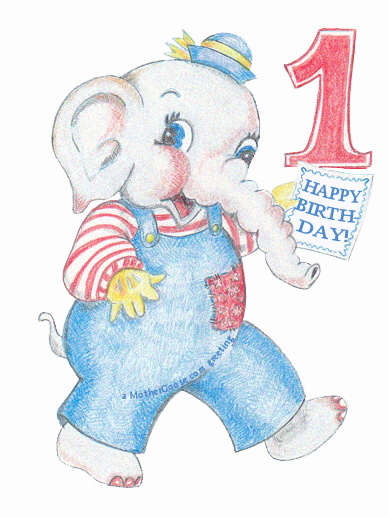 Happy Birthday One Year Old Baby  Greeting Clip Art