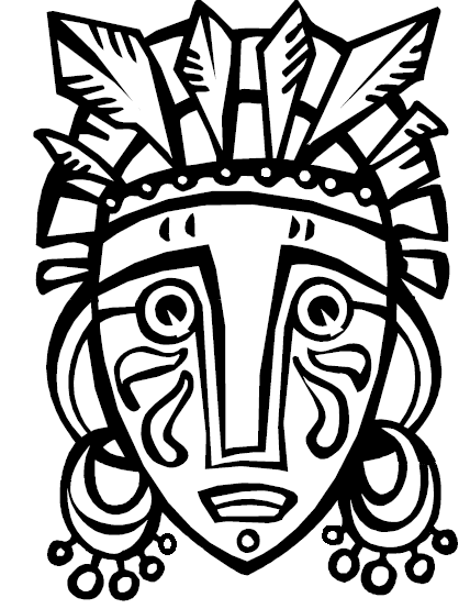 African mask clipart clipart suggest for African culture coloring pages