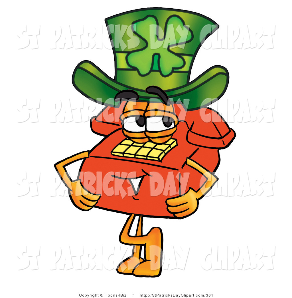 Larger Preview  Clip Art Of A St Paddys Day Red Telephone Character