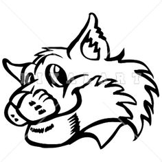 Mascot Clipart Image Of Black White Wildcats Bobcats Graphic Smiling
