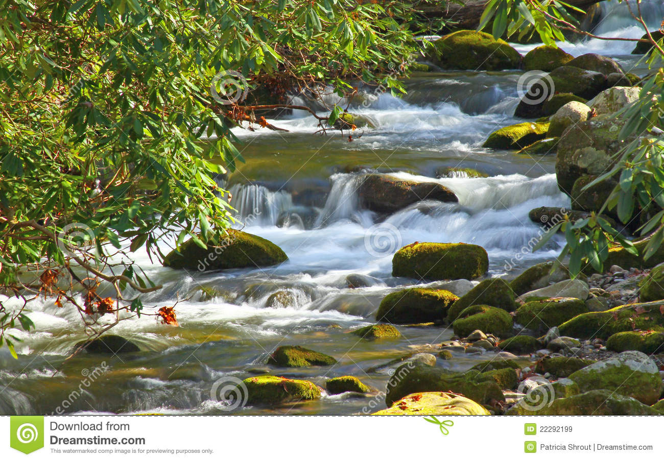 Mountain Stream Flowing Over Rocks And Boulders In Smoky Mountain