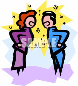 Of A Couple Having A Yelling Match   Royalty Free Clipart Picture