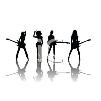 Royalty Free Clip Art Image  Silhouette Of A Sexy All Girl Band