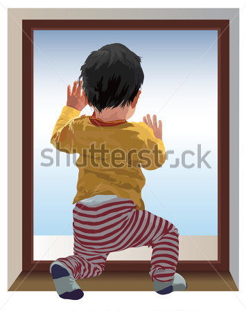Small One Year Old Child Kneel And Looking At Window Waiting For Mama