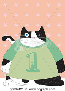 Stock Illustration   Cat Is 1 Year Old  Clip Art Gg63242130