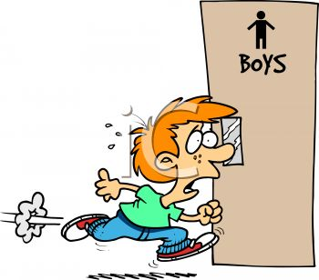 0511 0901 0417 2543 Schoolboy Hurrying To The Restroom Clipart Image