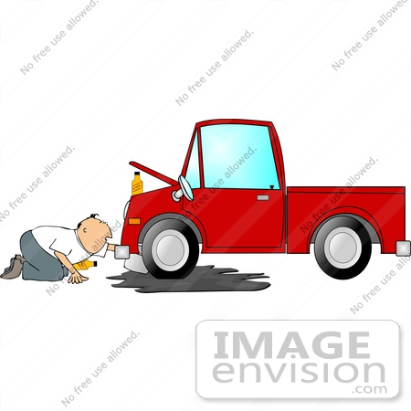 Aged Caucasian Man Changing The Oil Of A Pickup Truck Clipart By Djart